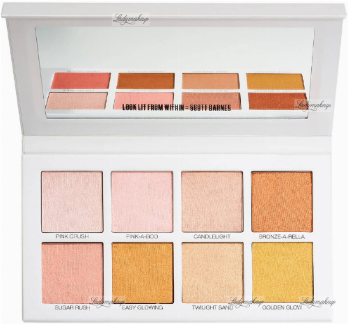 Scott Barnes - Glowy & Showy No.1 Highlighter Palette - Paleta 8 rozświetlaczy