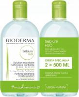 BIODERMA - Sebium H2O - Purifying Cleansing Micelle Solution - Zestaw 2 płynów micelarnych do skóry tłustej i mieszanej - 2x500 ml
