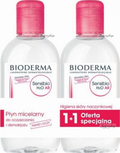 BIODERMA - Sensibio H2O AR - Anti-redness Make-up Removing Micelle Solution - Set of 2 micellar liquids for skin with vascular problems - 2x250 ml