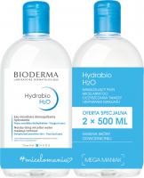 BIODERMA - Hydrabio H2O - Moisturising Micellar Water Makeup Remover - Zestaw 2 nawilżających płynów micelarnych do oczyszczania i demakijażu - 2x500 ml