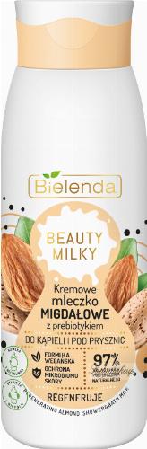 Bielenda - BEAUTY MILK - Regenerating Almond Shower & Bath Milk - Creamy almond milk with prebiotic for bath and shower - 400 ml