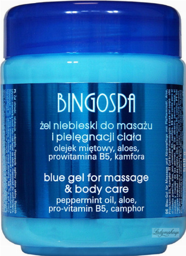 BINGOSPA - Blue Gel for Massage - Blue gel for massage and body care with mint and aloe vera - 500 g