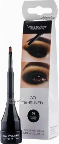 Pierre René - Gel Eyeliner - Wodoodporny eyeliner w żelu - 01 CARBON BLACK