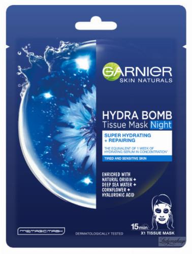 GARNIER - HYDRA BOMB Tissue Mask Night - Super Hydrating + Repairing - Nawilżająca maska do skóry zmęczonej na noc