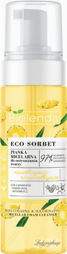 Bielenda - ECO SORBET - Moisturizing & Illuminating Micellar Foam Cleanser - Moisturizing and illuminating micellar face cleansing foam - Pineapple - 150 ml