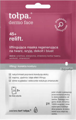 Tołpa - Dermo Face 45+ Relift. - Lifting regenerating mask for the face, neck, cleavage and bust - 2 x 6 ml