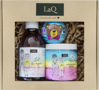 LaQ - Balloon Gum - Gift set for children - Hand and body wash gel 300 ml + Washing foam 100 g + Ball with a surprise (blue) 120 g