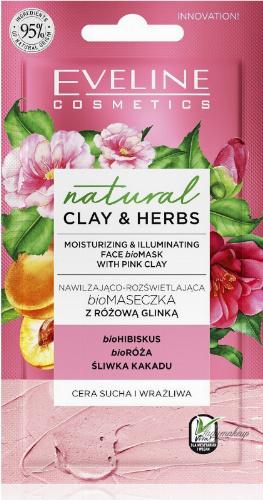 Eveline Cosmetics - Natural Clay & Herbs - Nawilżająco-rozświetlająca bioMaseczka z różową glinką  - 8 ml