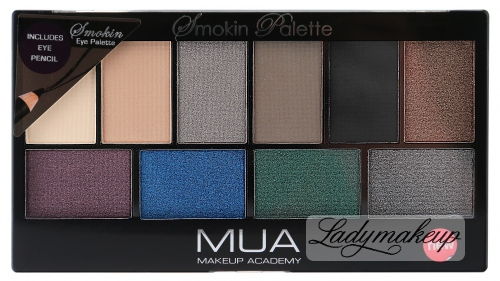 MUA - Smokin Palette + Eye Pencil - Zestaw 10 cieni do powiek + kredka