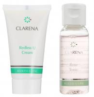 Clarena - Mini zestaw - Redless U Cream 15 ml + Rose Tonic 30 ml - Krem na trądzik różowaty z amborą i witaminą U + Tonik różany z witaminą U - REF: 0043