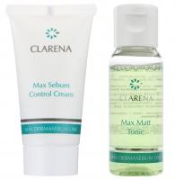 Clarena - Mini zestaw - Max Sebum Control Cream 15 ml + Max Matt Tonic 30 ml - Krem normalizujący + Tonik matujący - REF: 0036