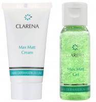 Clarena - Mini zestaw - Max Matt Cream 15 ml + Max Matt Gel 30 ml - Krem matujący + Żel matujący - REF: 0047