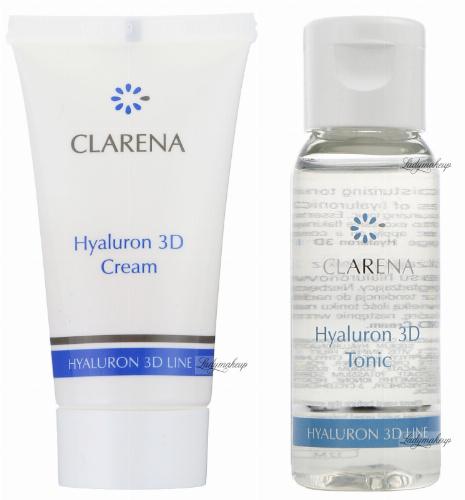 Clarena - Mini zestaw - Hyaluron 3D Cream 15 ml + Hyaluron 3D Tonic 30 ml - Ultra-nawilżający krem + Ultra-nawilżający tonik - REF: 0042