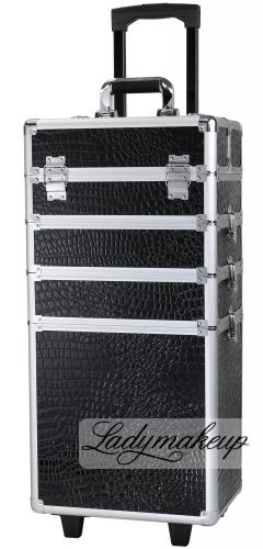 KUFER KOSMETYCZNY NA ROLKACH - TC-004 BLACK CROCO (krokodyl)