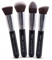 Nanshy - GOBSMACK GORGEOUS ONYX BLACK - Zestaw 4 pedzli do makijażu - FB-SET-003