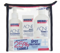 NovaClear - ACNE CLEANSER, ACNE SPOT TREATMENT, ACNE TONER - Facial cosmetics set + cosmetic bag