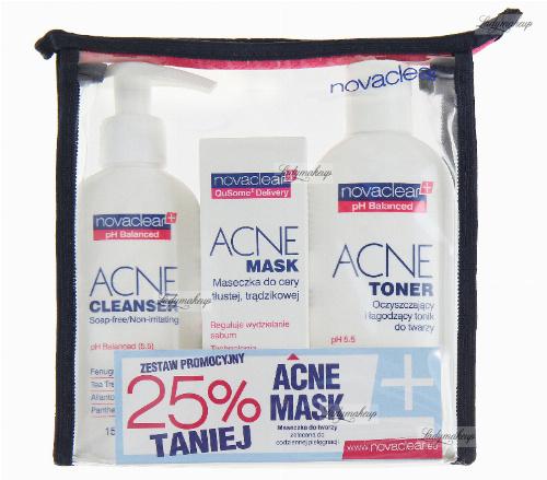 NovaClear - ACNE CLEANSER, ACNE MASK, ACNE TONER - Zestaw kosmetyków do twarzy + kosmetyczka