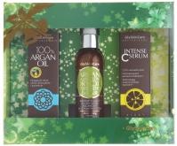 GlySkinCare - INTENSE C SERUM, ARGAN ILLUMINATING DRY OIL, 100% ARGAN OIL - Zestaw kosmetyków do pielęgnacji włosów, twarzy i ciała - (ZIELONY)
