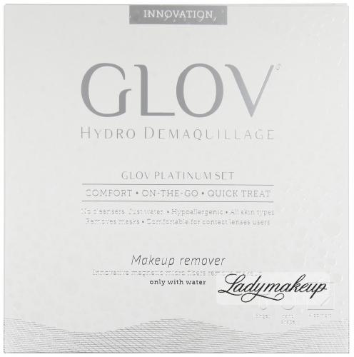 GLOV - Hydro Demaquillage - PLATINUM SET - COMFORT - ON-THE-GO - QUICK TREAT - Zestaw 3 rękawic do demakijażu
