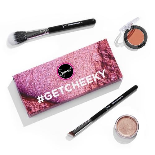 Sigma - #GETCHEEKY - Set of 2 brushes, pressed blush, creme highlighter - HMS01