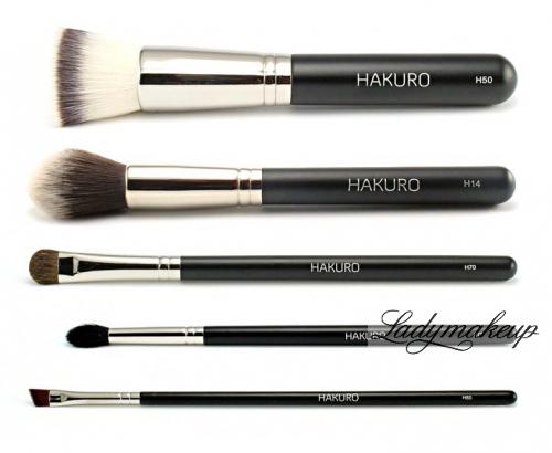 Hakuro - Zestaw 5 pędzli do makijażu twarzy i oczu - podstawowy