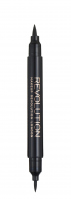 MAKEUP REVOLUTION - AWESOME DOUBLE FLICK LIQUID EYELINER - Eyeliner i kredka do oczy - BLACK - BLACK