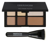 FREEDOM - PRO STROBE - PRO POWDER STROBE AND CONTOUR PALETTE WITH BRUSH - Zestaw do konturowania twarzy + pędzel