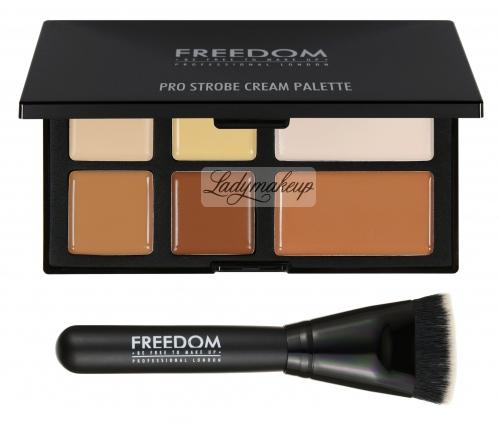 FREEDOM - PRO STROBE CREAM - PRO CREAM STROBE AND CONTOUR PALETTE WITH BRUSH - Zestaw do konturowania twarzy + pędzel