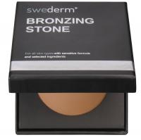 Swederm - BRONZING STONE AND KABUKI BRUSH - Wypiekany puder brązujący + Mały pędzel