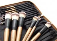 LancrOne - SUNSHADE MINERALS - Zestaw 15 pędzli do makijażu + Pikowane złote etui - EDYCJA LIMITOWANA