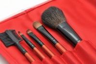 LancrOne - Zestaw 5 pędzli do makijażu + czerwone etui