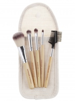 LancrOne - SUNSHADE MINERALS - Set of 5 make-up brushes + natural flax case