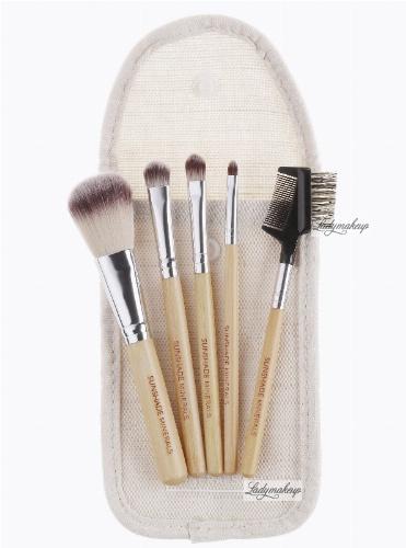LancrOne - SUNSHADE MINERALS - Zestaw 5 pędzli do makijażu + saszetka z naturalnego lnu