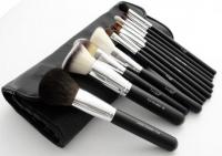 LancrOne - Zestaw 12 pędzli do makijażu - CHROME + czarne etui