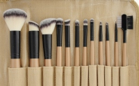 LancrOne - SUNSHADE MINERALS - Zestaw 12 pędzli do makijażu - nr 2 + etui z naturalnego lnu
