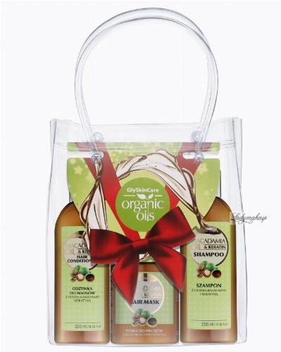 GlySkinCare -  MACADAMIA ORGANIC OILS - Świąteczny zestaw kosmetyków do pielęgnacji włosów z olejem makadamia (szampon, odżywka, maska)
