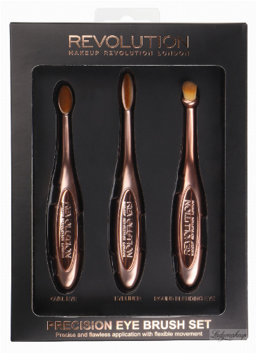 MAKEUP REVOLUTION - PRECISION EYE BRUSH SET - Zestaw 3 pędzli do makijażu oczu