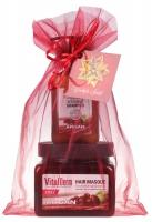 VitalDerm - HAIR CARE BASED ON ARGAN OIL - Świąteczny zestaw kosmetyków do włosów z olejem arganowym (maska arganowa do włosów farbowanych i odbudowujący szampon)