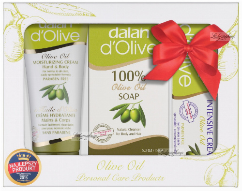 Dalan d'Olive - OLIVE OIL - Świąteczny zestaw kosmetyków oliwkowych (mydło do ciała i włosów, 2 kremy do rąk i ciała)