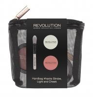 MAKEUP REVOLUTION - HANDBAG #HACKS STROBE, LIGHT AND CHEEK -  Zestaw do makijażu w kosmetyczce - Rozświetlacz, róż do policzków i pędzel