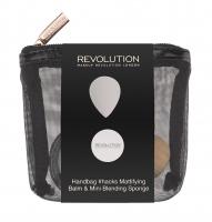 MAKEUP REVOLUTION - HANDBAG #HACKS MATTIFYING BALM & MINI BLENDING SPONGE - Zestaw do makijażu w kosmetyczce - Balsam matujący i mini gąbka do blendowania