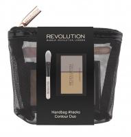 MAKEUP REVOLUTION - HANDBAG #HACKS CONTOUR DUO - Zestaw do makijażu w kosmetyczce - Paleta do konturowania i pędzel