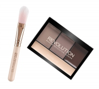 MAKEUP REVOLUTION - HANDBAG #HACKS BROW KIT - Zestaw do makijażu - Paleta do brwi i pędzel