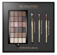 MAKEUP REVOLUTION - HD PRO EYES & BROWS & EYE BRUSH, FLAT EYE BRUSH, EYEBROW BRUSH - Paleta cieni do powiek i 3 pędzle do makijażu oczu