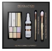 MAKEUP REVOLUTION - HD PRO CORRECT & PERFECT - CONCEAL BRUSH, PRIME AND CORRECT BRUSH - Paleta korektorów, pudrów i rozświetlaczy oraz zestaw 2 pędzli do makijażu