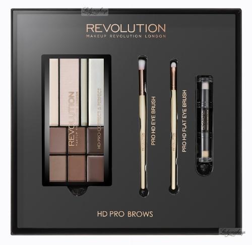 MAKEUP REVOLUTION - HD PRO BROWS - FLAT BROW BRUSH, ANGLED BROW BRUSH - Paleta do makijażu brwi i zestaw 2 pędzli