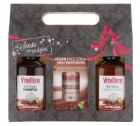 VitalDerm - HAIR AND FACE CARE BASED ON ARGAN OIL - Świąteczny zestaw kosmetyków do włosów i twarzy z olejem arganowym (szampon i odżywka do włosów, nawilżający krem do twarzy)