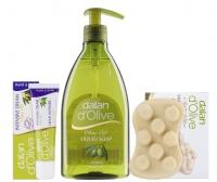 Dalan d'Olive - OLIVE OIL - Świąteczny zestaw kosmetyków oliwkowych (mydło w płynie, krem do rąk i ciała, mydło antycellulitowe do masażu)