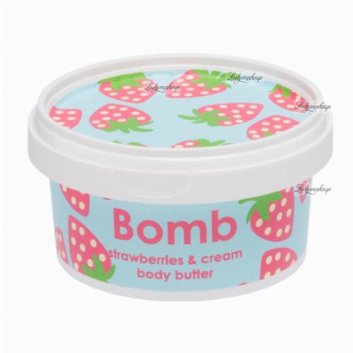Bomb Cosmetics - Strawberries & Cream - Body Butter - Masło do ciała z 30% Shea - TRUSKAWKI ZE ŚMIETANĄ