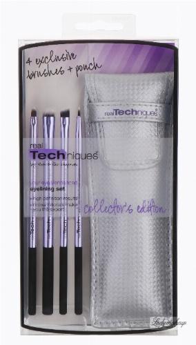 Real Techniques - Eyelining Set - 4 Exclusive Brushes + Ponch - Zestaw czterech pędzli do makijażu oczu + etui - 1437